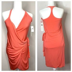 NWT 1. State XS Coral Matte Jersey Wrap Dress